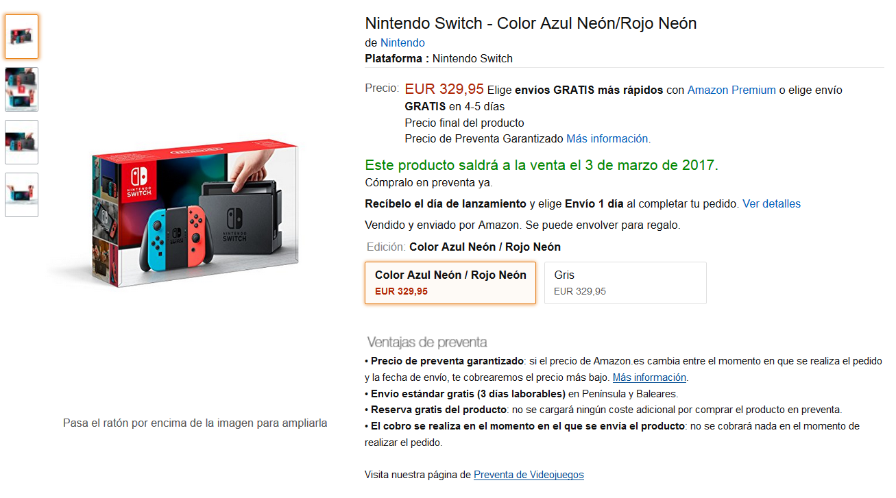 Nintendo Switch a Amazon España