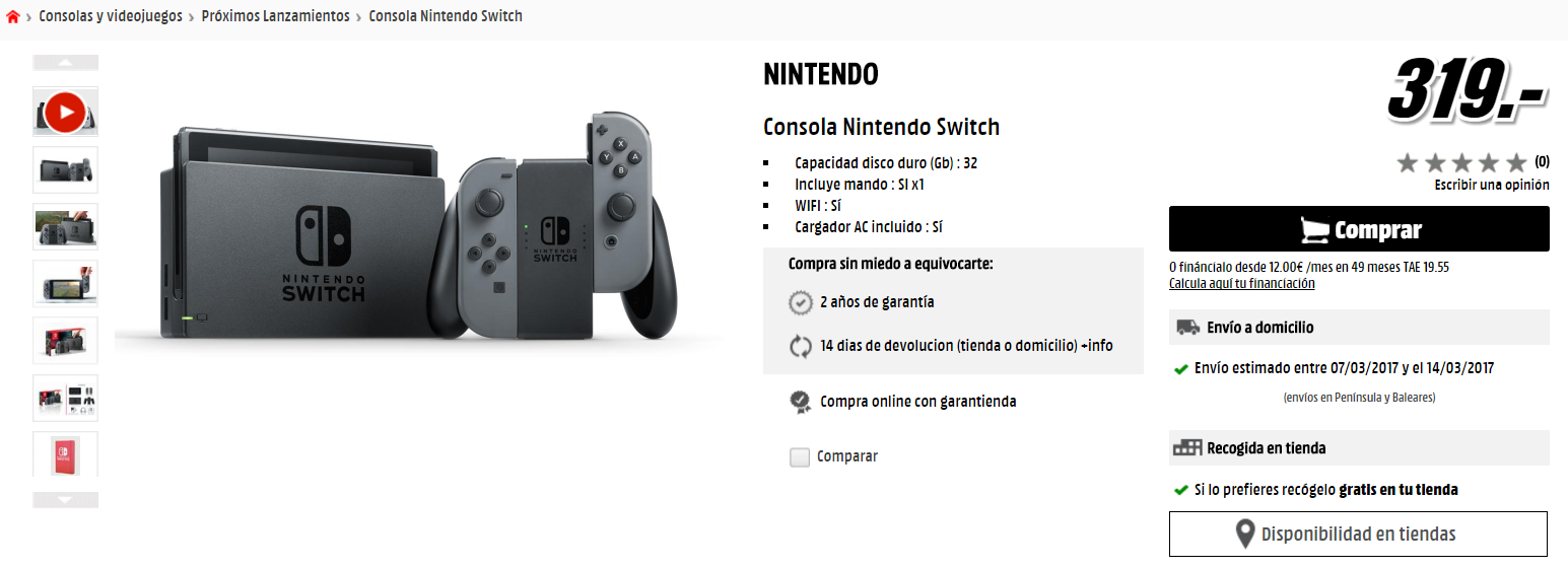 Preu de la Nintendo Switch