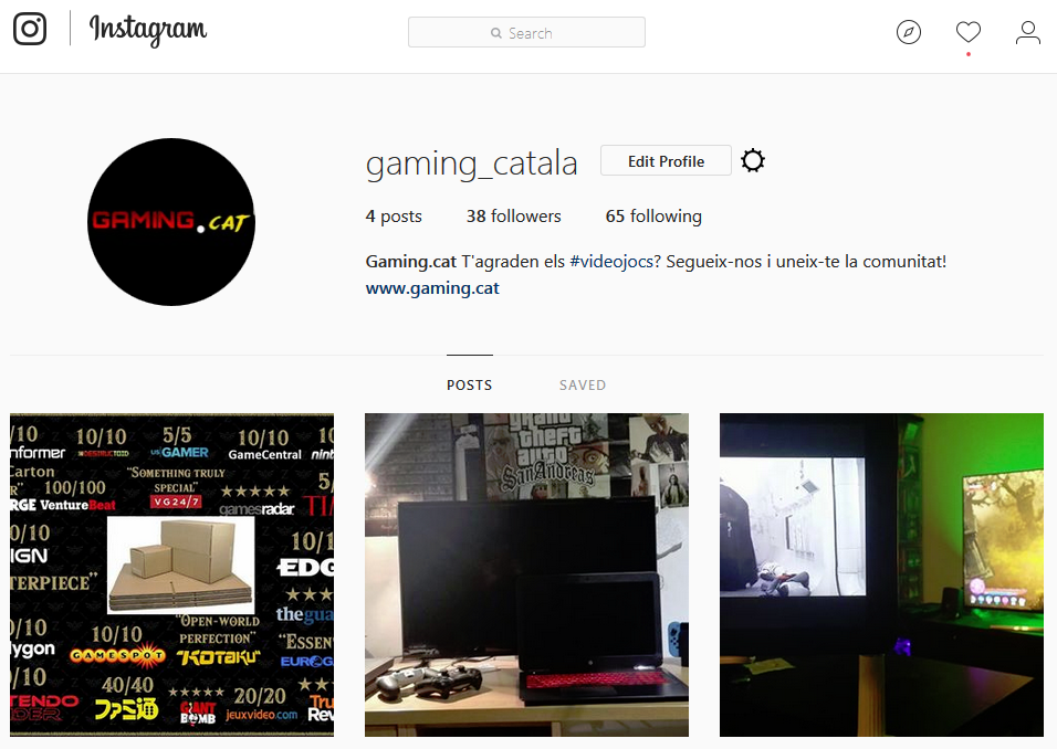 Captura del compte d'Instagram de Gaming.cat