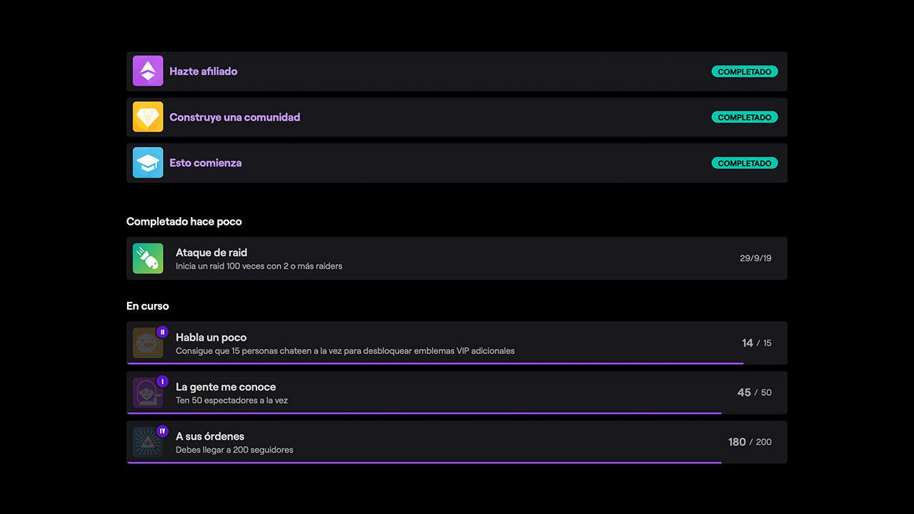 Captura de pantalla d'alguns assoliments a Twitch