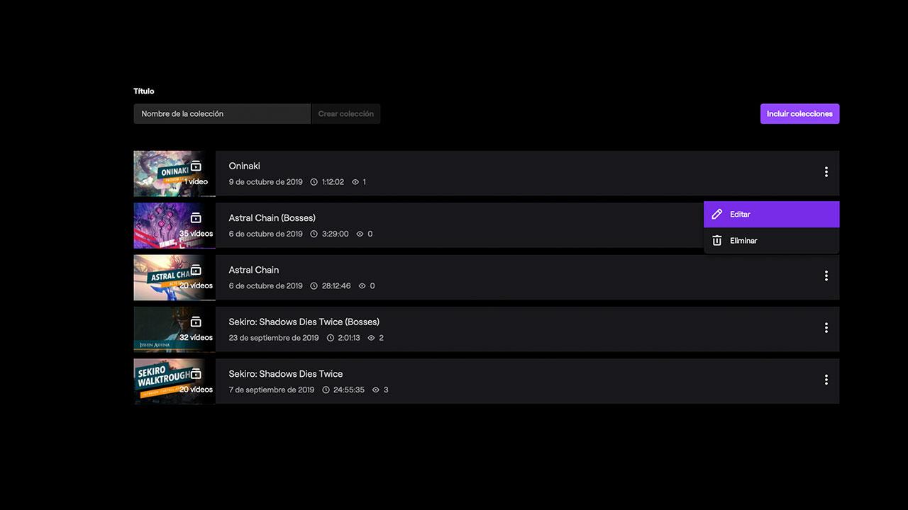 Captura de com es fa una col·lecció a Twitch