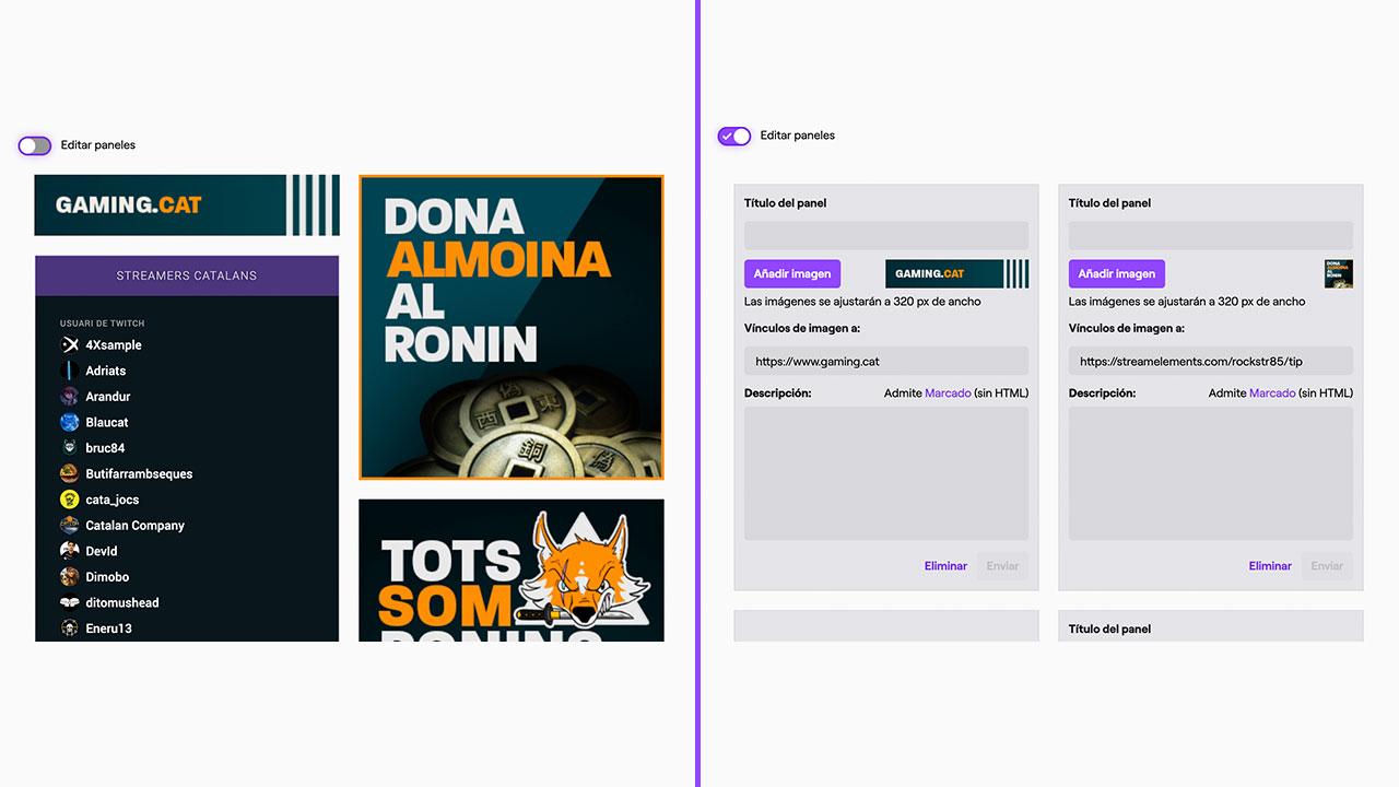 Un exemple de com posar els panells a Twitch