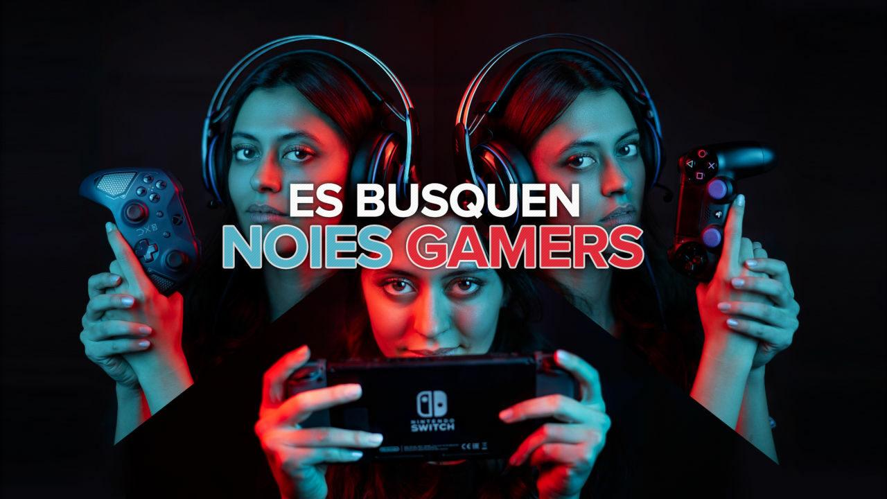 Collage amb tres imatges d'una noia gamer i el text