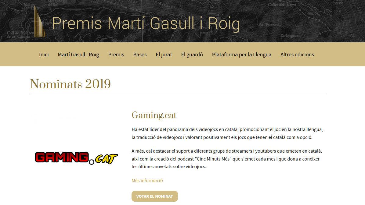 Pàgina de Gaming.cat al web dels Premis Martí Gasull