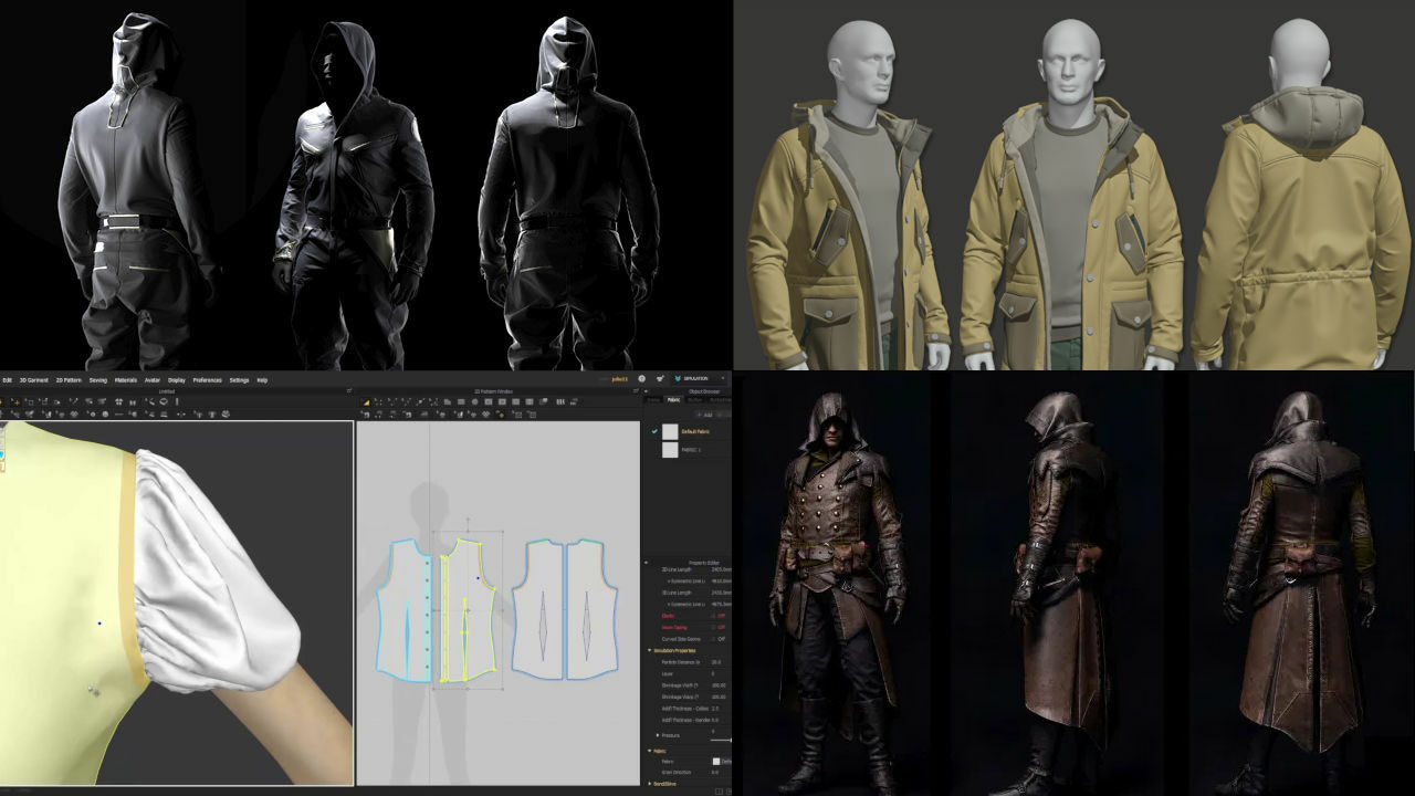 Un collage ensenyant diferents possibilitats de Marvelous Designer