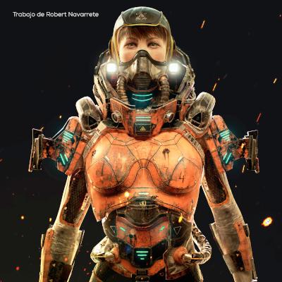 Una noia vestida amb una armadura futurista