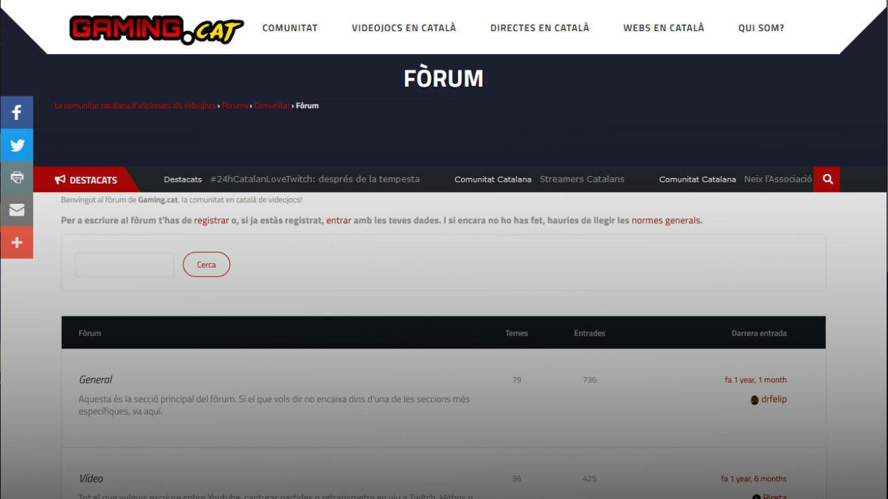 Captura de pantalla del fòrum de Gaming.cat