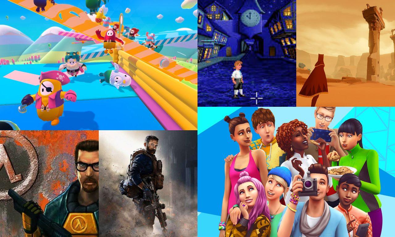 Collage amb diferents jocs que jugarem el Dia Mundial del Videojoc 2020