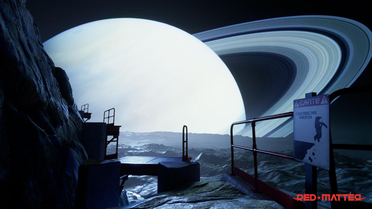 Un paisatge espacial amb un planeta amb anells a l'horitzó